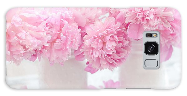 Cottage Galaxy Case - Shabby Chic Pastel Pink Peonies - Pink Peonies In White Mason Jars by Kathy Fornal