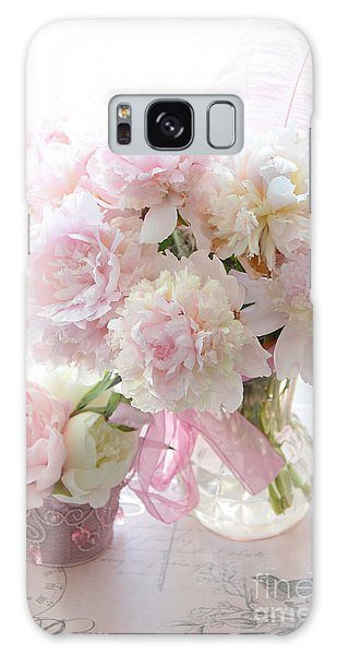 Romantic Shabby Chic Pink White Peonies - Shabby Chic Peonies Pastel Decor Galaxy Case