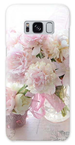 Cottage Galaxy Case - Shabby Chic Pink White Peonies - Shabby Chic Peonies Pastel Pink Dreamy Floral Wall Print Home Decor by Kathy Fornal