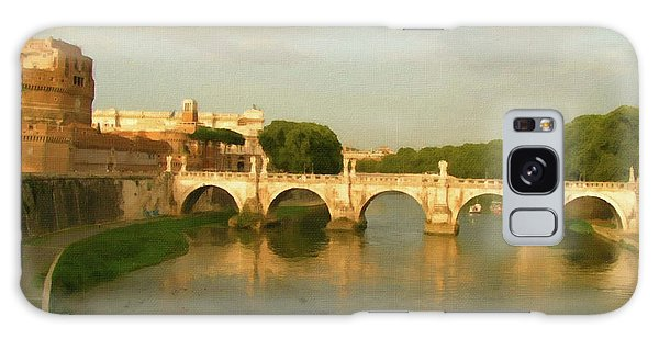 Galaxy Case featuring the painting Rome The Eternal City And Tiber River by Rosario Piazza