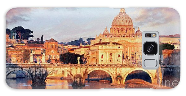 Galaxy Case featuring the mixed media Rome The Eternal City - Saint Peter From The Tiber by Rosario Piazza