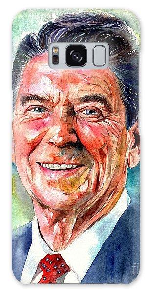 Magazine Cover Galaxy Case - Ronald Reagan Watercolor by Suzann's Art
