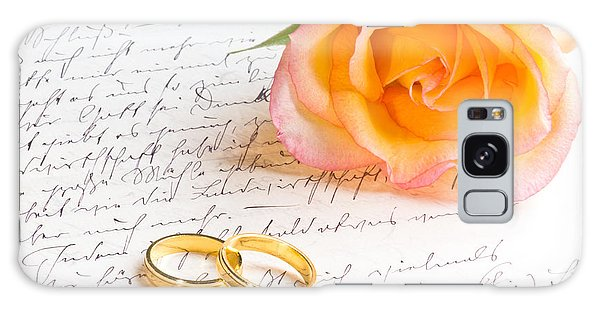 Rose And Two Rings Over Handwritten Letter Galaxy Case