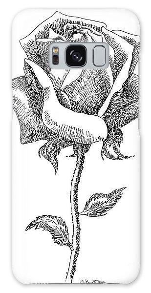 Rose Drawings Black-white 5 Galaxy Case