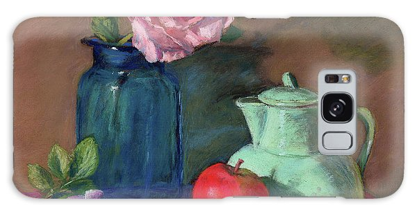 Rose In Blue Jar Galaxy Case by Vikki Bouffard