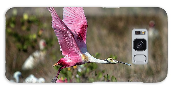 Roseate Spoonbill Flying Galaxy Case