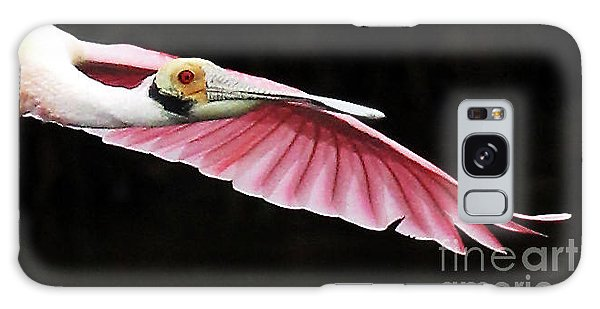 Roseate Spoonbill In Flight Galaxy Case