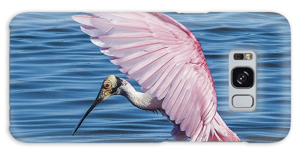 Roseate Spoonbill Profile With Wings Over Her Head Galaxy Case