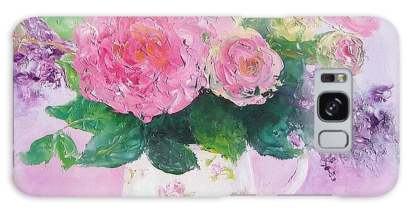 Roses In A Pink Floral Jug Galaxy Case