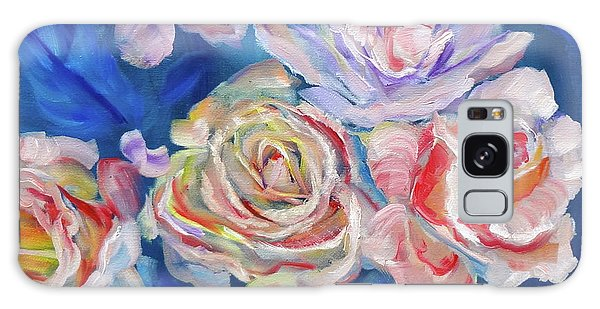 Roses, Roses On Blue Galaxy Case