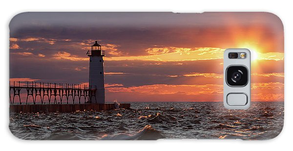 Galaxy Case featuring the photograph Rough Water Sunset by Fran Riley