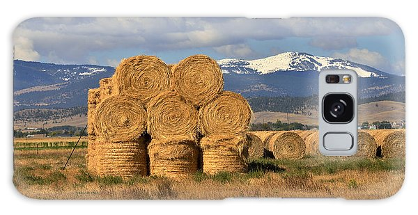 Round Hay Bales And Mountain Galaxy Case