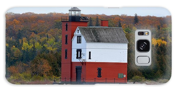 Round Island Lighthouse In October Galaxy Case