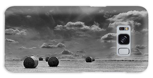 Round Straw Bales Landscape Galaxy Case