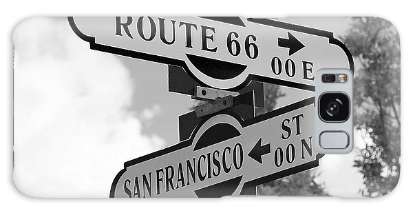 Route 66 Street Sign Black And White Galaxy Case by Phyllis Denton