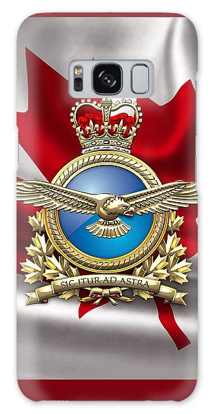 Royal Canadian Air Force Badge Over Waving Flag Galaxy Case