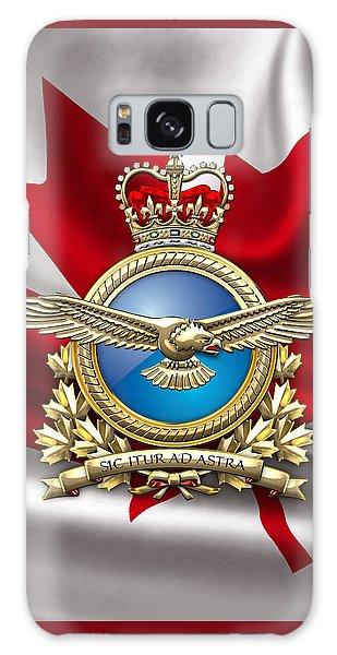 Royal Canadian Air Force Badge Over Waving Flag Galaxy Case