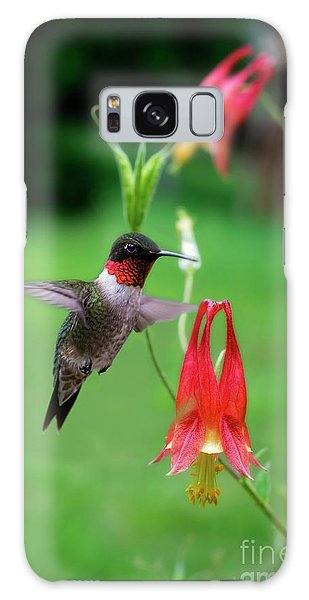 Galaxy Case featuring the photograph Ruby-throated Hummingbird  Looking For Food by Dan Friend