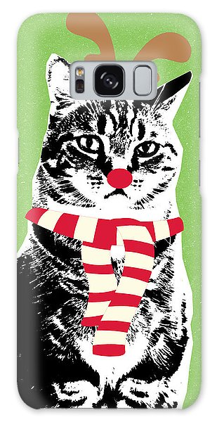 Rudolph The Red Nosed Cat- Art By Linda Woods Galaxy Case