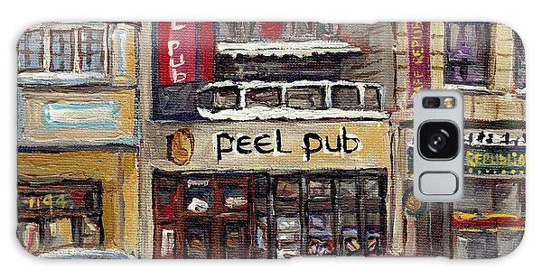 Rue Peel Montreal Winter Street Scene Paintings Peel Pub Cafe Republique Hockey Scenes Canadian Art Galaxy Case