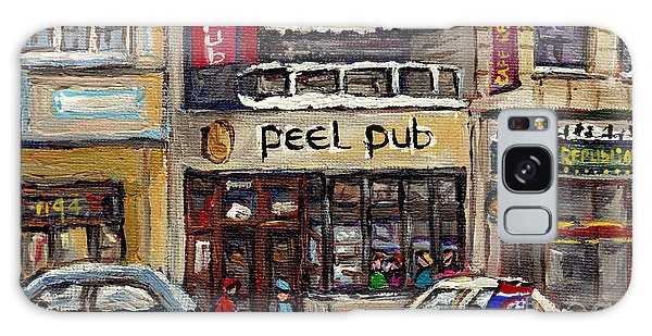 Rue Peel Montreal Winter Street Scene Paintings Peel Pub Cafe Republique Hockey Scenes Canadian Art Galaxy Case