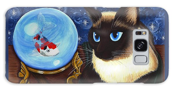 Galaxy Case featuring the painting Rue Rue's Fortune - Siamese Cat Koi by Carrie Hawks