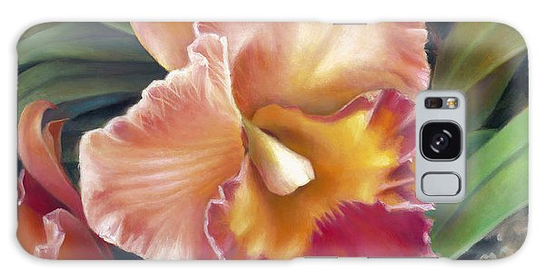 Ruffled Peach Cattleya Orchid Galaxy Case by Nancy Tilles