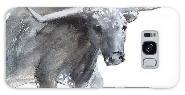 Running Texas Longhorn Watercolor Painting By Kmcelwaine Galaxy Case
