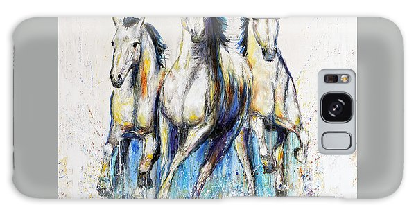 Running With The Herd Horse Painting Galaxy Case