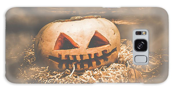 Shed Galaxy Case - Rustic Barn Pumpkin Head In Horror Fog by Jorgo Photography - Wall Art Gallery