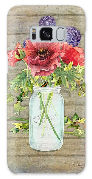 Rustic Country Red Poppy W Alium N Ivy In A Mason Jar Bouquet On Wooden Fence Galaxy Case by Audrey Jeanne Roberts