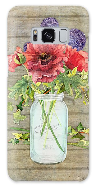 Rustic Galaxy Case - Rustic Country Red Poppy W Alium N Ivy In A Mason Jar Bouquet On Wooden Fence by Audrey Jeanne Roberts