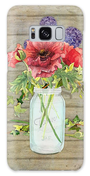 Rustic Country Red Poppy W Alium N Ivy In A Mason Jar Bouquet On Wooden Fence Galaxy Case