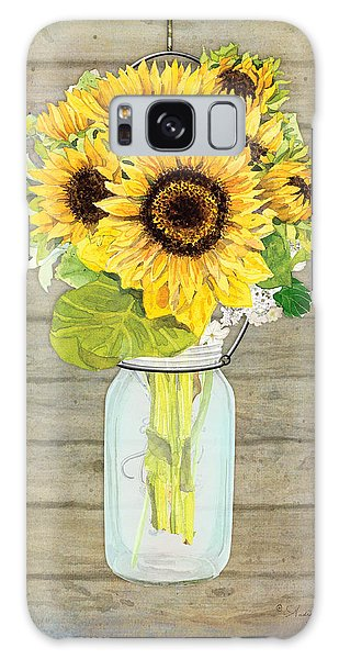 Sunflower Galaxy Case - Rustic Country Sunflowers In Mason Jar by Audrey Jeanne Roberts