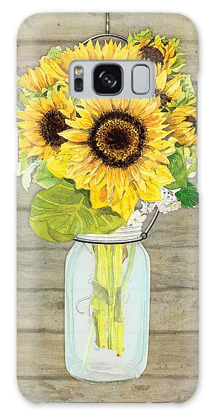 Rustic Galaxy Case - Rustic Country Sunflowers In Mason Jar by Audrey Jeanne Roberts
