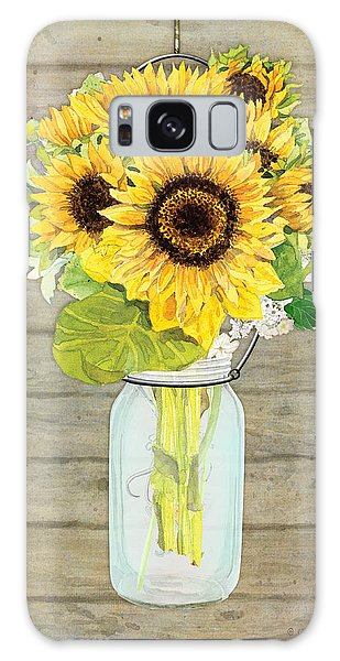 Rustic Country Sunflowers In Mason Jar Galaxy Case