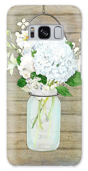Rustic Country White Hydrangea N Matillija Poppy Mason Jar Bouquet On Wooden Fence Galaxy Case by Audrey Jeanne Roberts