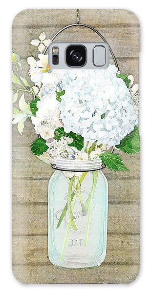 Rustic Country White Hydrangea N Matillija Poppy Mason Jar Bouquet On Wooden Fence Galaxy Case