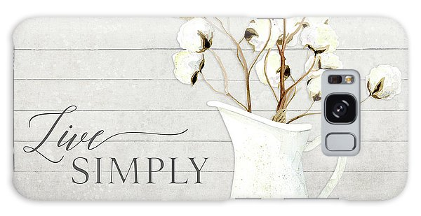 Wall Paper Galaxy Case - Rustic Farmhouse Cotton Boll Milk Pitcher Live Simply by Audrey Jeanne Roberts