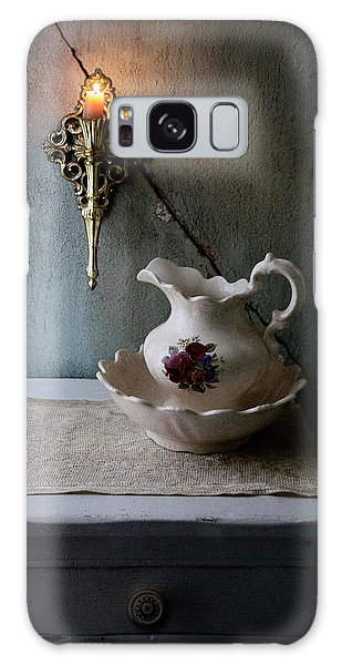 Rustic Water Closet With Brass Sconce And A Pretty Floral Patter Galaxy Case