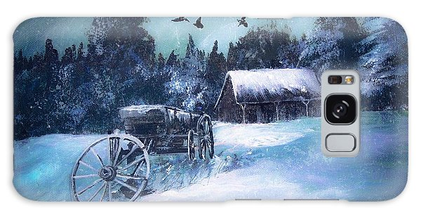 Rustic Winter Barn  Galaxy Case by Michele Carter