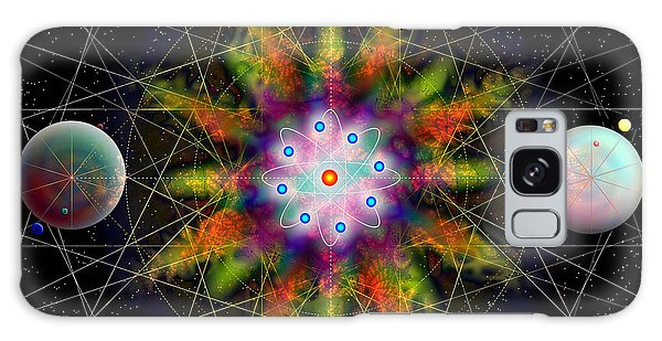 Sacred Planetary Geometry - Dark Red Atom Galaxy Case by Iowan Stone-Flowers