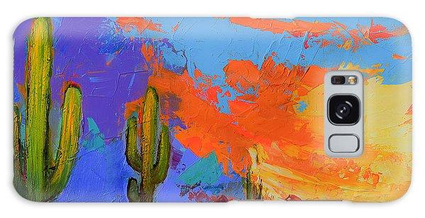 Desert Flora Galaxy Case - Saguaros Land Sunset By Elise Palmigiani - Square Version by Elise Palmigiani