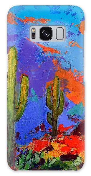Saguaros Land Sunset By Elise Palmigiani - Square Version Galaxy Case
