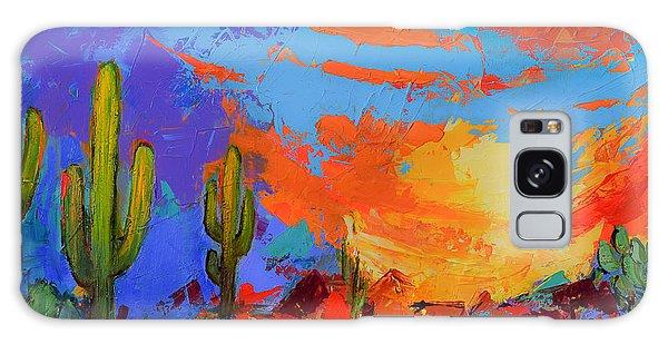 Desert Flora Galaxy Case - Saguaros Land Sunset by Elise Palmigiani