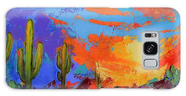 Saguaros Land Sunset Galaxy Case by Elise Palmigiani