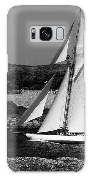 sailboat - a one mast classical vessel sailing in one of the most beautiful harbours Port Mahon Galaxy Case