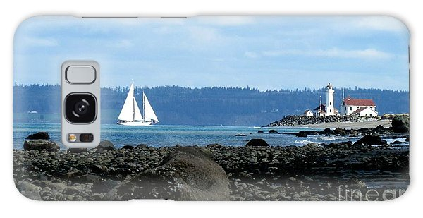 Sailboat And Lighthouse Galaxy Case
