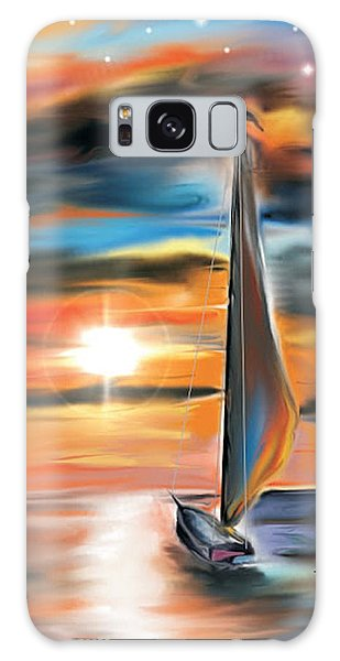 Sailboat And Sunset Galaxy Case by Darren Cannell