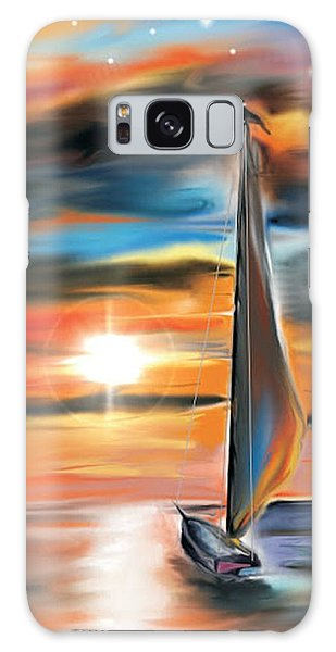 Sailboat And Sunset Galaxy Case